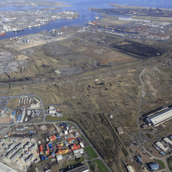 1 - Aerial view of the wider Teesworks site looking across the South Bank Zone